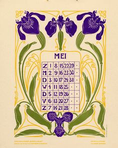 Bloem en blad (Flower and leaf) Dutch calendar Anna Sipkema, illustrator 1904 Vintage Calendar, Art Calendar, Calendar Girls, Art Nouveau, Dutch Artists, Arts And Crafts Movement, Traditional Art, Illustrations Posters, Flower Art