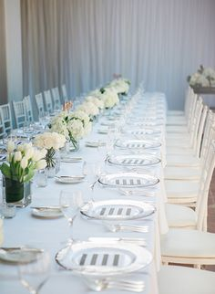 Inspired By This Inspiration for a Dreamy All White Wedding Hydrangea Wedding Decor, Wedding Flowers, Wedding Decorations, Table Decorations, All White Wedding, Martha Stewart Weddings, Wedding Planning, Party Planning, Event Styling