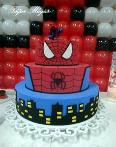 7th Birthday, Birthday Parties, Birthday Cake, Spiderman Cookies, Fake Cake, Birthday Decorations, Cake Decorating, Bakery, Birthdays