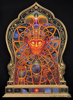 Cosmic Christ - 1999-2000, oil on wood with carved wood painted and gilded frame, 50 x 102 in. Alex Grey