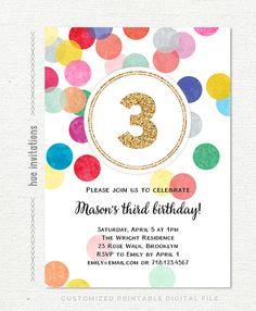 3rd Birthday Invitation Rainbow And Gold Glitter Turning Three Printable Party Invite Customized Digital File