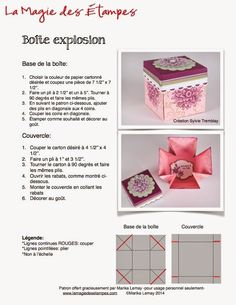 La magie des étampes - Cartes - Scrapbooking - Stampin'Up Box Cards Tutorial, Card Tutorials, Fun Fold Cards, Folded Cards, Boite Explosive, Birthday Explosion Box, Scrapbook Box, Exploding Box Card, Pop Up Box Cards