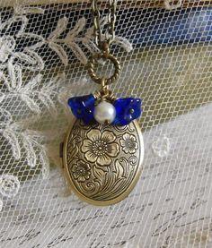 Locket  Necklace,  Antique Brass Oval Locket, Vintage Inspired, Cobalt Blue Czech Flowers, Canteam