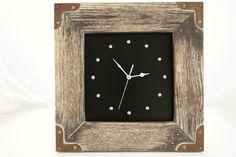 Zegar w starej ramie retro vintage 39 x 39 cm. Cyfry ze starych kowalskich nitów