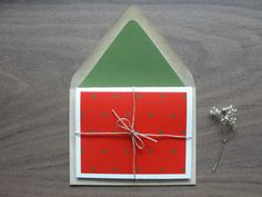 Set of 6 / Polka-dot Holiday Greeting Cards & String by punchpaper
