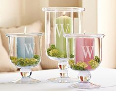 ...doesn't have to be these same candle holders from Williams Sonoma. You could use your own glass containers and etch your initial on them.