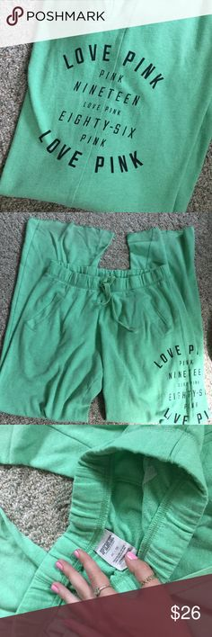 Comfortable Green Pants With Pockets🌿 Very gently used- no damage! Drawstring waist, two pockets, design as pictured, and a raw-cut edge at the bottom. Open to offers! PINK Victoria's Secret Pants Track Pants & Joggers