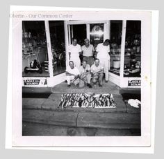 ID#0016 Date: 1948-1949. This picture shows six Oberlin residents displaying one day's catch of walleye fish from Lake Erie. The photo was taken in front of Kern's bicycle shop at 49 South Main. Mr. Kern had his bicycle shop in this building from 1949-1959. This building, known as the Beckwith block, was demolished in 1957 to build People's Bank. Participant: Doren Harley. Additional Sources: Jack Harley Interview, 10/00, Dean Harley Interview, 11/00.
