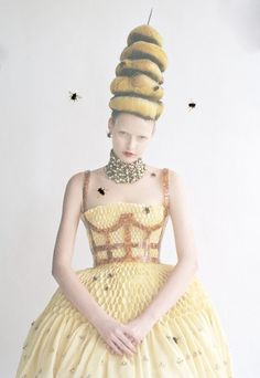 Tim Walker Vogue March 2013, queen bee dress. Fashionable fun with a dash of discomfort.