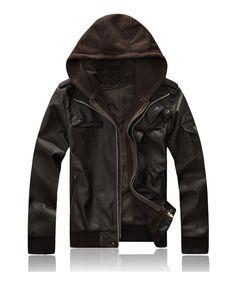 Men Short Coffee Snap-on Cap Faux Leather Outwear M/L/XL/XXL@dat227c