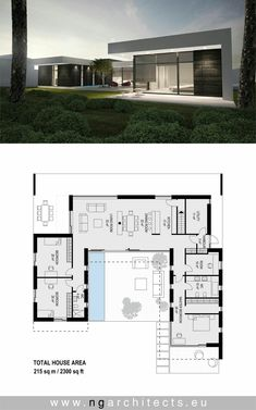 Modern villa AJ designed by NG architects www. Modern villa AJ designed by NG archite. Living Haus, Modern House Floor Plans, Villa Plan, Modern Villa Design, House Blueprints, Modern Architecture House, Architecture Tools, Bauhaus Architecture, Computer Architecture