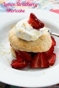Tender lemon shortcakes, ripe strawberries and fresh whipped cream piled high to create the perfect summer dessert, lemon strawberry shortcake.