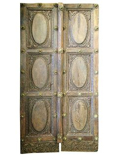#Architectural Arch Antique Double Doors Brass Accent