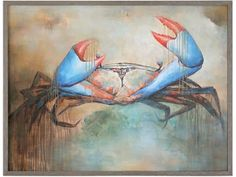 Buy the Uttermost 42517 Blue Crab / Driftwood Frame Direct. Shop for the Uttermost 42517 Blue Crab / Driftwood Frame Sam the Crab 49 Inch x 37 Inch Framed Animal Painting on Canvas by Matthew Williams and save. Driftwood Frame, Painted Driftwood, Hand Painted Canvas, Canvas Wall Art, Crab Art, Drip Painting, Coastal Wall Art, A 17, Animal Paintings