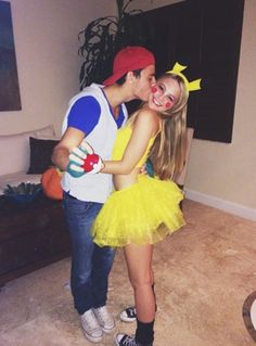 """Halloween is the best time of the year to show off how cute you and your """"boo"""" are! What better way to do so than with adorable and easy couples costumes? Keep reading for 20 of the best couples Halloween costume ideas! Flo from Progressive a Cute Couples Costumes, Cute Couple Halloween Costumes, Halloween Outfits, Halloween Couples, Couple Costume Ideas, Disney Couple Costumes, Pikachu Halloween Costume, Halloween Kostüm, Pikachu And Ash Costume"""
