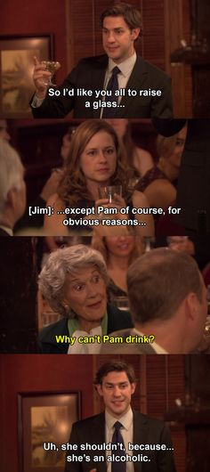 """When Jim accidentally reveals Pam's pregnancy at their rehearsal dinner.There's a big to-do about how Pam's very conservative grandmother is the only one who doesn't know about the pregnancy, so there's that. Then, Michael tries to mitigate the situation by saying that Jim and Pam """"made a mistake."""" Plus, Jim is usually so smooth, so it's tough to watch him flounder."""