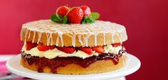 Strawberry And Mint Afternoon Tea Cake Afternoon Tea Cakes, Afternoon Tea Recipes, Strawberry Recipes, Summer Recipes, Food To Make, Cake Recipes, Sweet Treats, Cheesecake, Mint