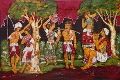 Village Couples (Batik Painting on Cotton Cloth - Unframed)