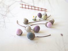 For Easter. Minimalist Handmade Autumn fabric acorns by sakamama, €30.00