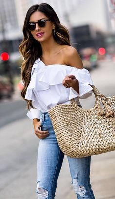 cute spring outfit white off shoulder top bag rips