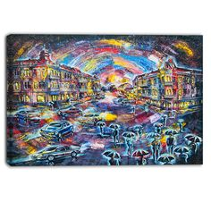 DESIGN ART Designart - Surreal City at Night - Cityscape Artwork