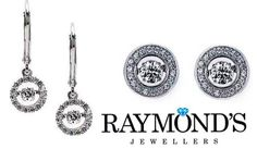 Diamond earrings at Raymond's Jewellers.