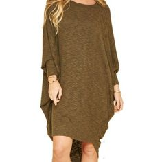 Relaxed Knit Sweater Dress featuring Draped Dolman Sleeves