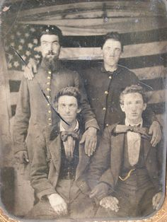 Union Soldiers posed in Front of American Flag.  (1/4 Plate Tintype).