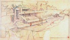 Morris Residence aka Seacliff by Frank Lloyd Wright unbuilt rendering by  1945