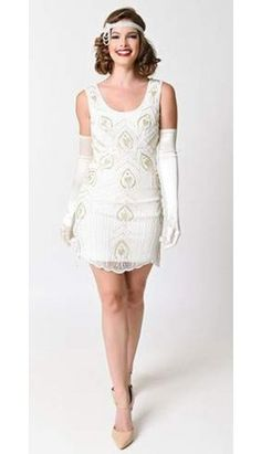 Frock and Frill 1920s Ivory & Gold Beaded Sequin Marion Flapper Short Dress