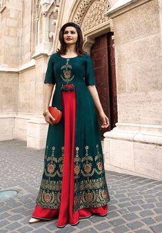 New indian Designer Party Wear Royal Blue & Red colour Front Open Full Length dress Indian Designer Suits, Designer Gowns, Kurta Designs Women, Blouse Designs, Silk Kurti Designs, Indian Gowns Dresses, Kurti Designs Party Wear, Indian Party Wear, Party Wear Dresses