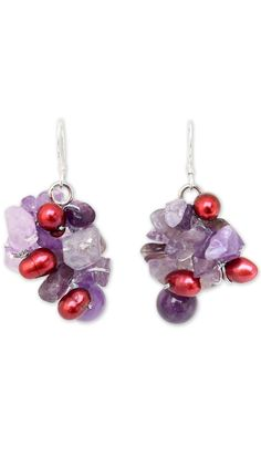 Pearl and Amethyst Cluster Earrings, 'Jungle Orchid'