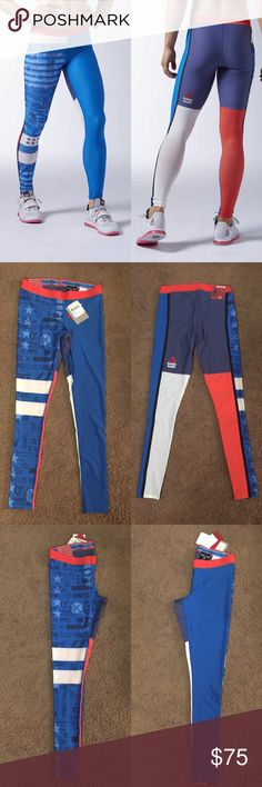 Reebok crossfit tights Reebok crossfit compression tights, new with tags retail. (Exactly the same as first photo except for stars in pattern) size medium. No trades or holds so please don't ask. Price is firm. Lowballers will be countered by the full asking price Reebok Pants