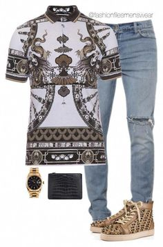 A menswear look from May 2016 featuring mens short sleeve polo shirts, mens jeans and christian louboutin mens shoes. Browse and shop related looks. Dope Outfits For Guys, Swag Outfits Men, Cool Outfits, Dolce & Gabbana, Runway Fashion, Mens Fashion, Fashion Menswear, Fashion Models, Christian Louboutin