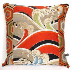 Spectacular Hokusai inspired Luxury Oriental Decorative Pillow Cushion Woven Metallic Gold, Red, Black & Green from rare Japanese Obi Silk by BeccaCadburyDesign on Etsy