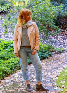 FASHION FAIRY DUST STYLE BLOG// Pink Moto Jacket, gray ankle boots, gray v neck sweater, fall fashion, fall outfit