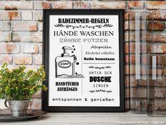 Wall decoration - BATHROOM RULES, illustration for self-printing - a designer piece . Bathroom Posters, Bathroom Rules, Bathroom Prints, Red Bathroom Decor, Simple Prints, Illustration, Poster Making, Amazing Gardens, Decoration