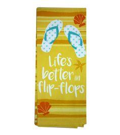 Escape To Paradise Flour Sack Towel-Life's Better In Flip-Flops | Summer Home Decor | Summer Inspiration