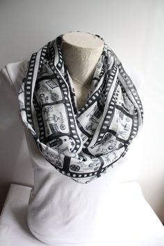 Cinema Infinity Scarf Movie Scarf Black and White Infinity Scarf Women Accessories Gift Ideas for Her by dreamexpress from dreamexpress on Etsy. Find it now at http://ift.tt/26qyYUy!