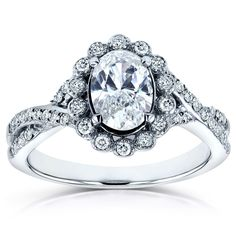 Annello by Kobelli 14k Gold 1ct TDW Oval Diamond Antique Engagement Ring