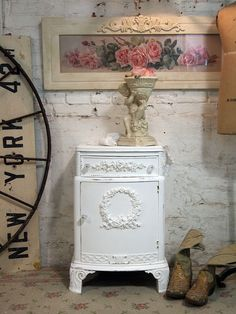 Painted Cottage Chic Shabby White French Night by paintedcottages, $160.00