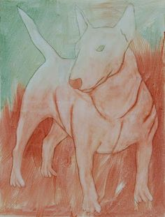 Bull terrier, egg tempera on canvas. Bully Dog, Tempera, Bull Terrier, Mars, Egg, Canvas, Painting, Block Prints, Dibujo