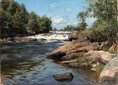 Peder Mørk Mønsted (1859-1941): Waterfalls, Ryde, 1893