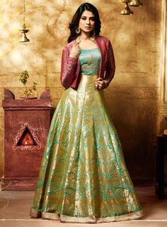 Jennifer Winget Light Green Banarasi Jacket Style Floor Length Anarkali Suit 105129