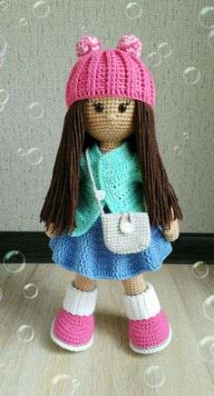 crochet amigurumi free patterns This Molly Doll is an excellent gift for a girl. The doll crochet pattern includes the instructions for clothes. Doll Amigurumi Free Pattern, Crochet Amigurumi Free Patterns, Crochet Stitches Patterns, Crochet Designs, Amigurumi Doll, Col Crochet, Crochet Gifts, Crochet Baby, Crochet Eyes