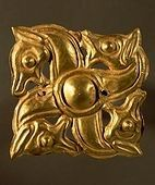Thracian (Bulgarian/Romanian) gold swastika aplique with zoomorphic decoration. From Baicene, Romania