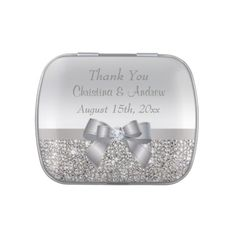 Faux Silver Sequins & Bow Wedding Thank You Favors Candy Tin