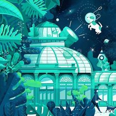 Greenhouse Mural designed by Folio Illustration Agency. Connect with them on Dribbble; the global community for designers and creative professionals. Illustration Agency, Digital Illustration, Graphic Illustrations, Magdiel Lopez, Environmental Design, Freelance Illustrator, French Artists, Cartoon Art, Vector Art