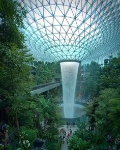 Beautiful Photos Of Nature, Beautiful Places To Travel, Wonderful Places, Futuristic Architecture, Amazing Architecture, Landscape Architecture, Singapore Architecture, Natural Architecture, Indoor Waterfall