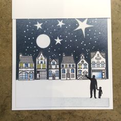Wee houses stamps Starry Starry Night card created by Barbara Gray Christmas Cards 2017, Christmas Scenes, Xmas Cards, Clarity Card, Barbara Gray Blog, Ink Stamps, Card Making Techniques, Winter Cards, Card Maker